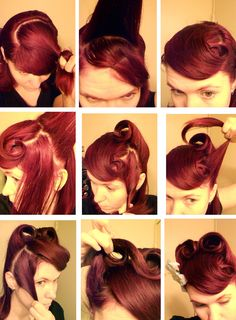 Another of my not-so-pretty victory roll tutorials showing how to hide bangs/fringe.