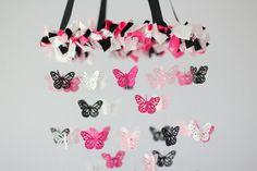 Pink, Black & White Butterfly Nursery Chandelier