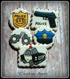 Police Officer Birthday Decorated Cookies