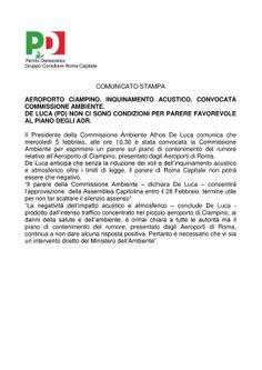 AEROPORTO DI CIAMPINO. INQUINAMENTO ACUSTICO: CONVOCATA UNA COMMISSIONE