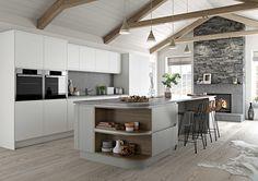 Semi Handleless Modern Kitchen. Roma in Dust Grey and Light Grey