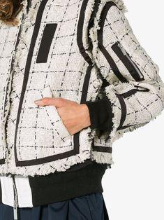 Sacai твидовая куртка-бомбер в клетку