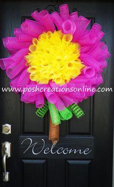 Daisy Wreath Deco Mesh Wreath