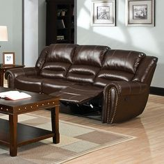 Furniture of America Dudhope Transitional Rustic Dark Brown Bonded Leather Recliner Sofa Couch Leather Reclining Sofa, Leather Recliner, Leather Sofa, Bonded Leather, Black Furniture, Sofa Furniture, Living Room Sofa, Living Room Furniture, Sofa Pillows