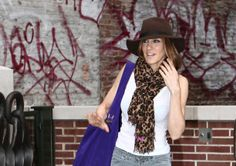 Sarah Jessica Parker brown hat Louis Vuitton scarf