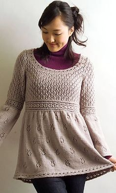 Empire Waist Pullover by Pierrot (Gosyo Co.Ltd,) FREE PATTERN on Ravelry available in English (written) and Japanese, pretty little tunic top