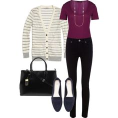 """""""Navy loafer, plum top, stripe cardigan"""" by gotta-have-it-girl on Polyvore"""