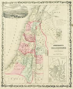 Johnson's Palestine Compiled Drawn Engraved by J H Colton & A J Johnson Note: Despite being advertised at steel engravings the maps in Johnson's Family Atlas were in fact hand colored stone lithograph