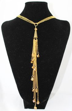 Gold Multi Strand Necklace With Gold Crystal Beads