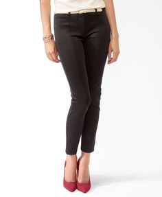 Seam Stitch Scuba Pants w/ Belt | FOREVER21 - 2027705110 $19.80