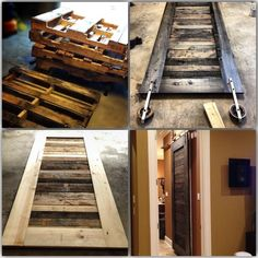 Pallet Doors Magnificent With Pallet Barn Door Naturally . 53 Creative And Gorgeous DIY Barn Door Plans And Ideas. Finding Best Ideas for your Building Anything Pallet Door, Pallet Barn, Diy Barn Door, Barn Doors, Tiny House Bathroom, Bathroom Doors, Bathrooms, Sliding Door Window Treatments, Sliding Doors