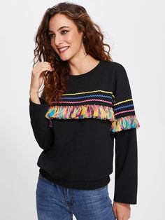 9dca2c3c6864 Shein Colorful Tassel And Chevron Patched Pullover Boho Mode, Dammode,  Collegetröjor, Huvtröjor,