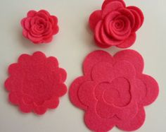 Make your own/DIY pink felt flowers/roses. Felt flower crown, flower headband, flower garlands, DIY felt flowers, baby headbands, die cuts