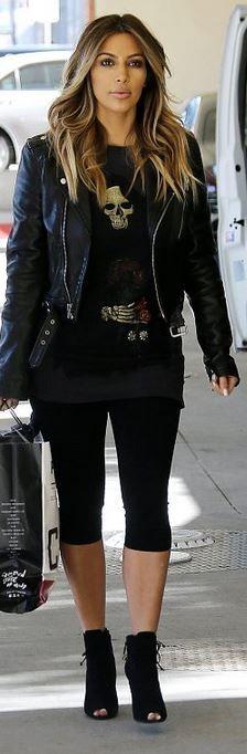 Kim Kardashian: Jacket – BLK DNM  Shoes – Tom Ford