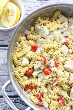 One Pan Spicy Lemon Chicken Pasta with Tomatoes #OnePotPasta