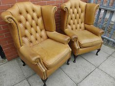 A-Pair-Of-Vintage-Tan-Gold-Leather-Chesterfield.jpg (400×300)