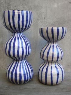 paulagreif  blue and white striped stoneware
