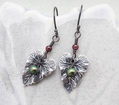 silver leaf earrings pearl dangle earrings by SharonClancyDesigns, $26.00