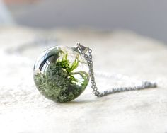 Lichen and Moss Sphere Necklace  green resin jewelry by UralNature,