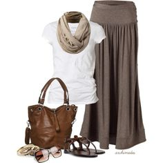 Maxi love. Soft browns and taupes create a comfy outfit for summer days filled with sunshine:)