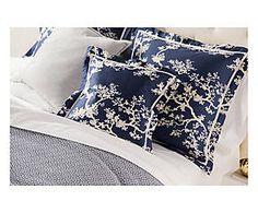 Parure de lit CRENES satin de coton, bleu et beige - 233*274