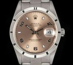 Rolex Date Stainless Steel Gents Pink Salmon Dial 15210 Used Rolex, Rolex Tudor, Rolex Date, Patek Philippe, Audemars Piguet, Rolex Watches, Beautiful Things, Salmon, Stainless Steel