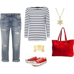 """""""Boyfriend jeans, navy/white Breton top, red tote & converse shoes, gold bangle & pendant"""" by jasperfleur on Polyvore Red Converse Outfit, Converse Shop, How To Wear Hoodies, How To Wear White Jeans, How To Wear Sneakers, Shorts With Tights, White Shorts, How To Wear Scarves, Denim Fashion"""
