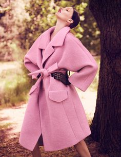 Love the pale pink coat