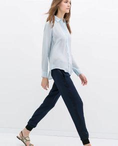 Image 2 of COMBINATION TROUSERS WITH CUFFED HEM from Zara