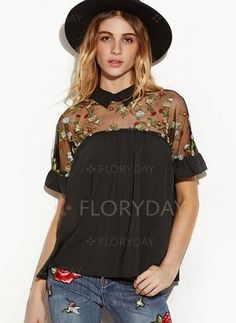a532447f931 Shop Embroidered Sheer Mesh Insert Tie Back Top online. SheIn offers  Embroidered Sheer Mesh Insert Tie Back Top   more to fit your fashionable  needs.