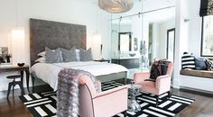 Love this guest room by Lucinda Loya Interiors--black, pink, gray and white is lovely combination