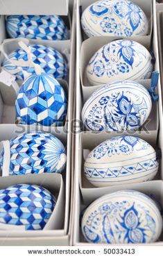 Hand-made traditional blue and white Easter eggs