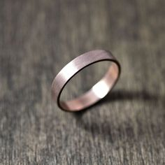 Rose Gold Mens Or Womens Wedding Band 4mm Flat Recycled 14k Red Ring