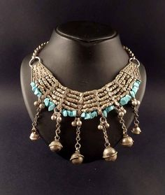 bedouin silver and turquoise vintage necklace from Syria - bedouin jewellery - ethnic necklace - tribal and ethnic. €150.00, via Etsy.