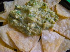 Guacamole and Baked Corn Chips, deliciously gluten, dairy and sugar and salt free. Seasoned with Herspanic Herblends For the recipe: good2eat4U.com