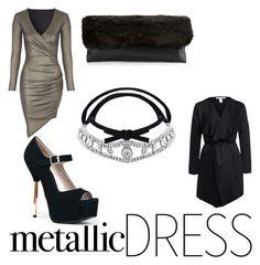 Metallic dress with black accessoires Jane Norman, Metallic Dress, Chokers, Crystals, Heels, Polyvore, Black, Dresses, Fashion