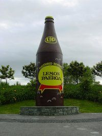 """World famous in New Zealand"" Giant bottle of L & P in the town of Paeroa New Zealand Food And Drink, Z New, Kiwiana, Thats The Way, World Famous, Refreshing Drinks, Beer Bottle, Over The Years, Lemon"