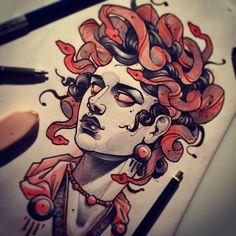 Geniale Sketch Vorlagen – Part 01 - Tattoo Spirit Tattoo Motive, Tattoo You, Tattoo Quotes, Tattoo Fonts, Medusa Art, Medusa Tattoo, Medusa Head, Unique Tattoos, New Tattoos