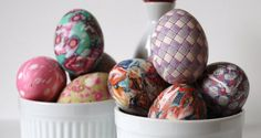 Silk Tie Dyed Easter Eggs: Monogram Momma boils real eggs wrapped in old silk ties and scarves & the results are nothing short of amazing.    Photo Credit: Etsy/TheJuneBride