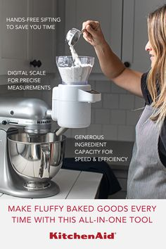 The KitchenAid® Sifter+Scale Attachment accurately measures and thoroughly sifts to give you batch after batch of fluffy, consistent results. Kitchen Aid Recipes, Kitchen Hacks, Kitchen Tools, Kitchen Gadgets, Kitchen Aide, Cooking Equipment, Cooking Tools, Cooking Recipes, Kitchen Aid Appliances