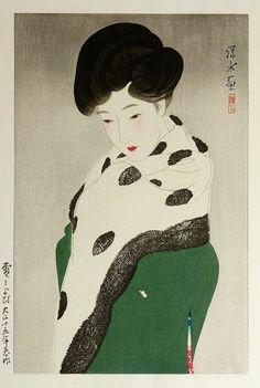"by 伊東深水 : ITŌ Shinsui (Japanese, 1898-1972) - ""雪もよう : Yuki Moyō (Snowy Weather / It Looks Like Snow)"", 1926."