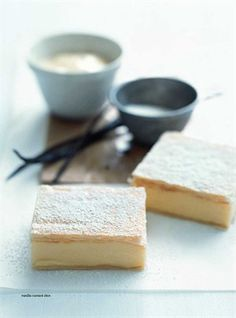 Vanilla custard slice Donna Hay Magazine : Issue 51 - demo, Page 162 Custard Slice, Vanilla Custard, Custard Pies, Just Desserts, Delicious Desserts, Yummy Food, Baking Recipes, Cake Recipes, Dessert Recipes