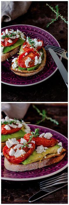 Slow Roasted Tomatoes with Avocado & Feta Recipe