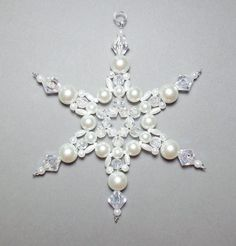 Snowflake Ornament - White Pearl and Clear AB - Christmas Ornaments - Beaded Ornaments - Winter Suncatchers - Holiday Decor