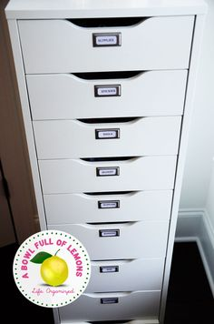 IKEA - ALEX, Drawer unit with 9 drawers, white, High unit with many drawers means plenty of storage on minimum floor space. Drawer stops prevent the drawer from being pulled out too far. This product has been developed and tested for domestic use. Office Supply Organization, Office Storage, Craft Organization, Alex Drawer Organization, Organize Office Supplies, Organized Office, Organize Files, Filing Storage, Drawer Storage