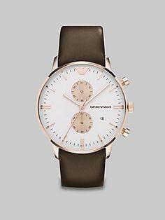 EMPORIO ARMANI - Mens Watches - ARMANI CLASSICS - Ref. AR0398 Emporio Armani. $355.50. Chronograph Display. Pink Leather Strap. Save 10%!