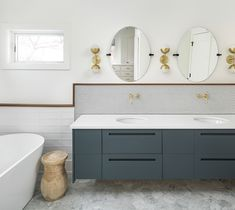 master bathroom his and hers cabinets
