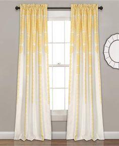 "Lush Decor Stripe Medallion Room Darkening Window Curtain Set, 84"" x 52"". #yellowdrapes #drapes #yellowdecor #afflnk"