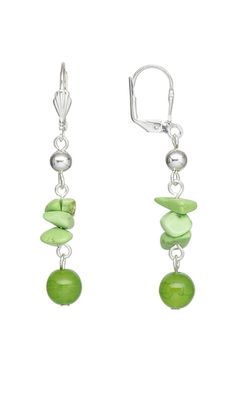 Earrings with Czech Glass Druk Beads and Lime Green Chalk Turquoise Gemstone Chips - Fire Mountain Gems and Beads