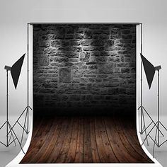 5x7ft Kate Black Retro Brick Wall Photography Backdrops Wood Floor Background for Children Photo Backdrop J01389